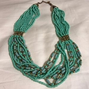 Turquoise with gold statement necklace